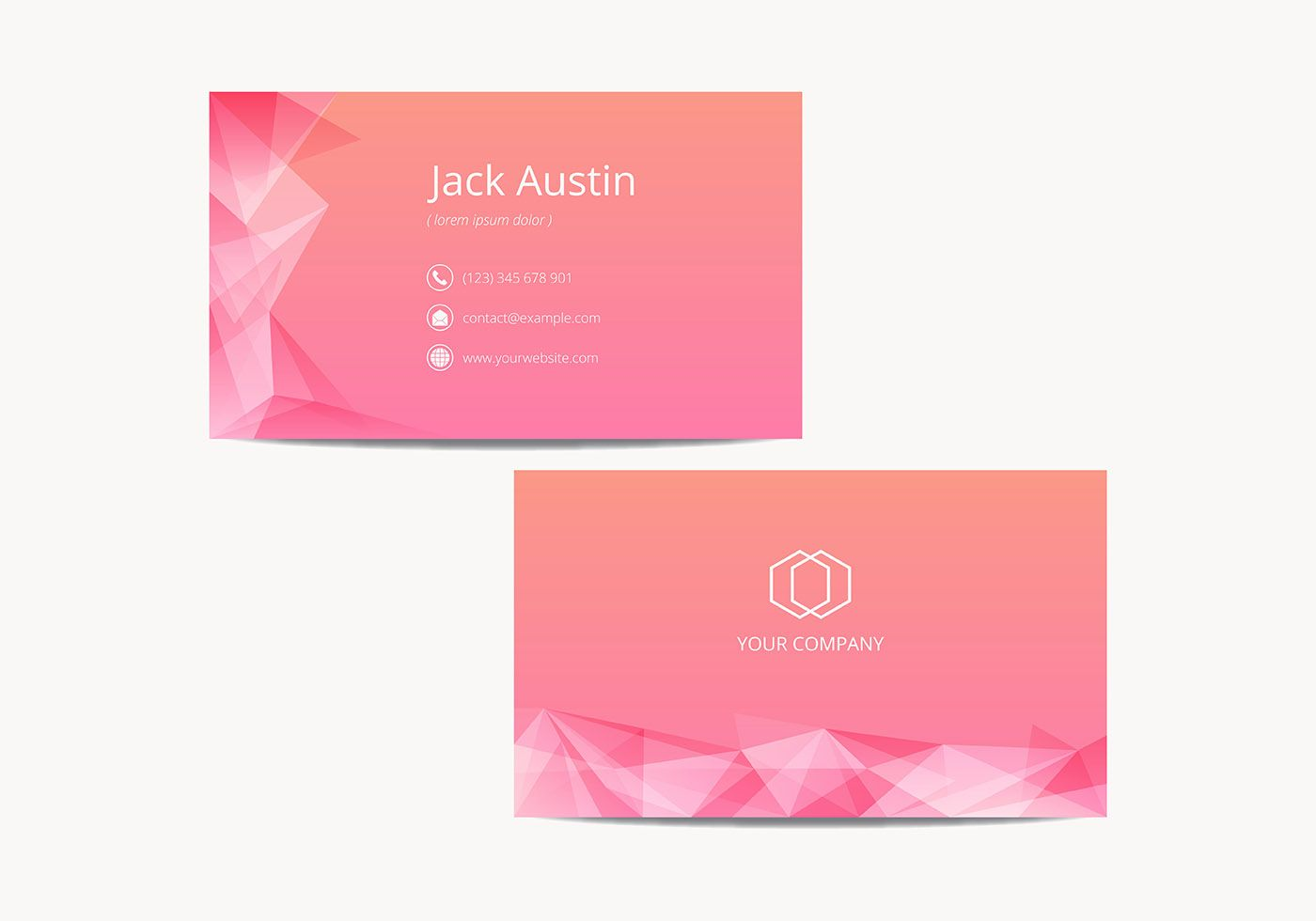 pink modern name card template vector  name cards card