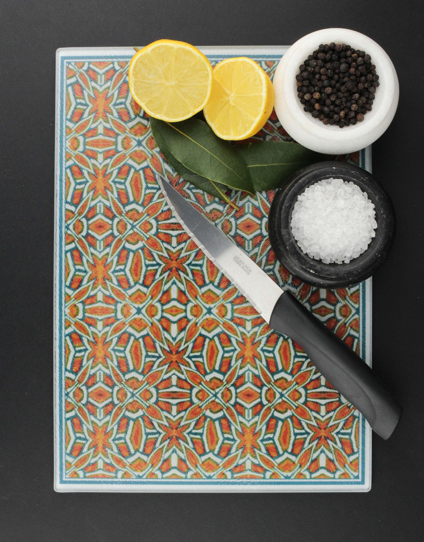 Glass Worktop Saver Chopping Board Geometric Pattern Design