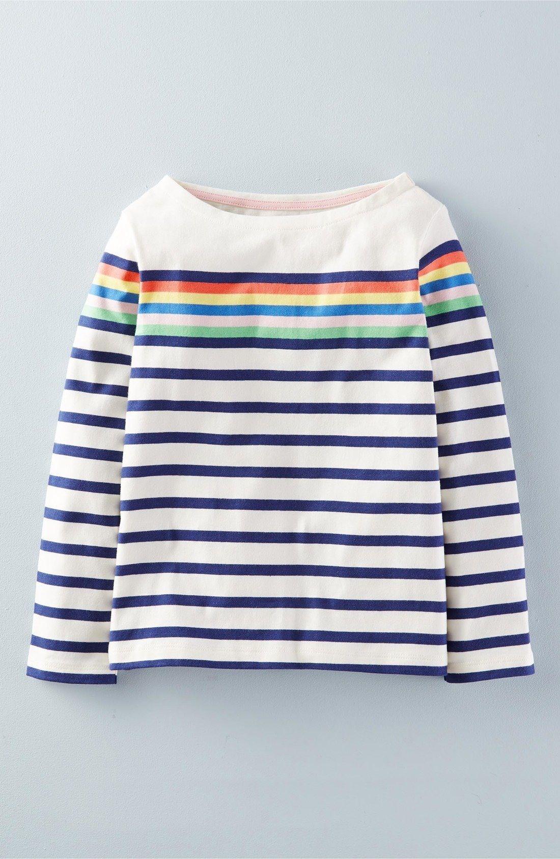 Mini Boden girls fun print Breton long sleeve top shirt rainbow stars stripe