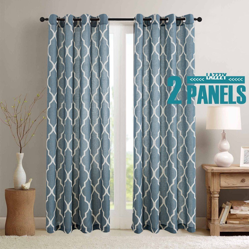 Amazon.com: Moroccan Printed Linen Curtains Grommet Top, Light ...