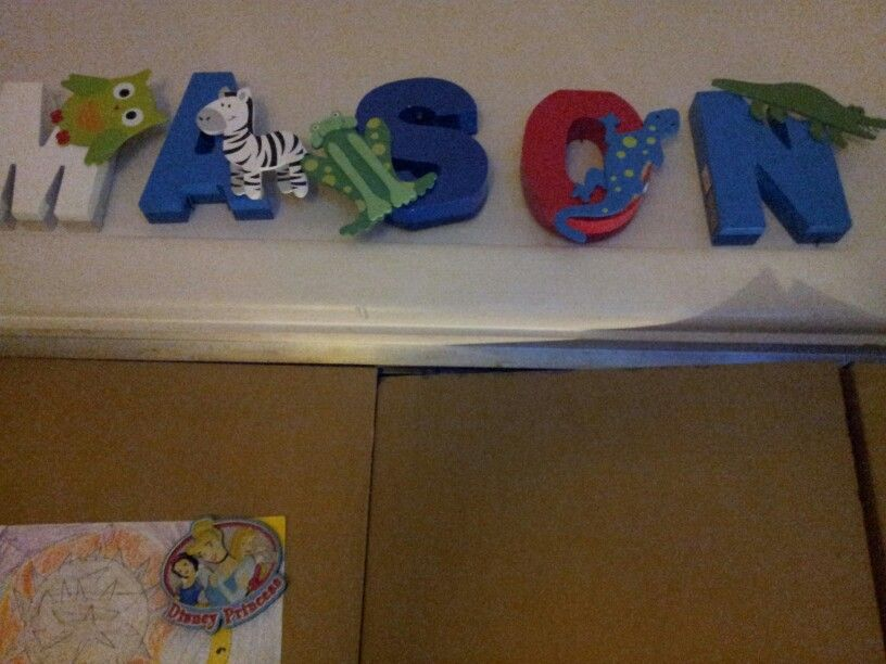 Letters I painted & added the wooden animals on with super glue. All found at Michaels art store