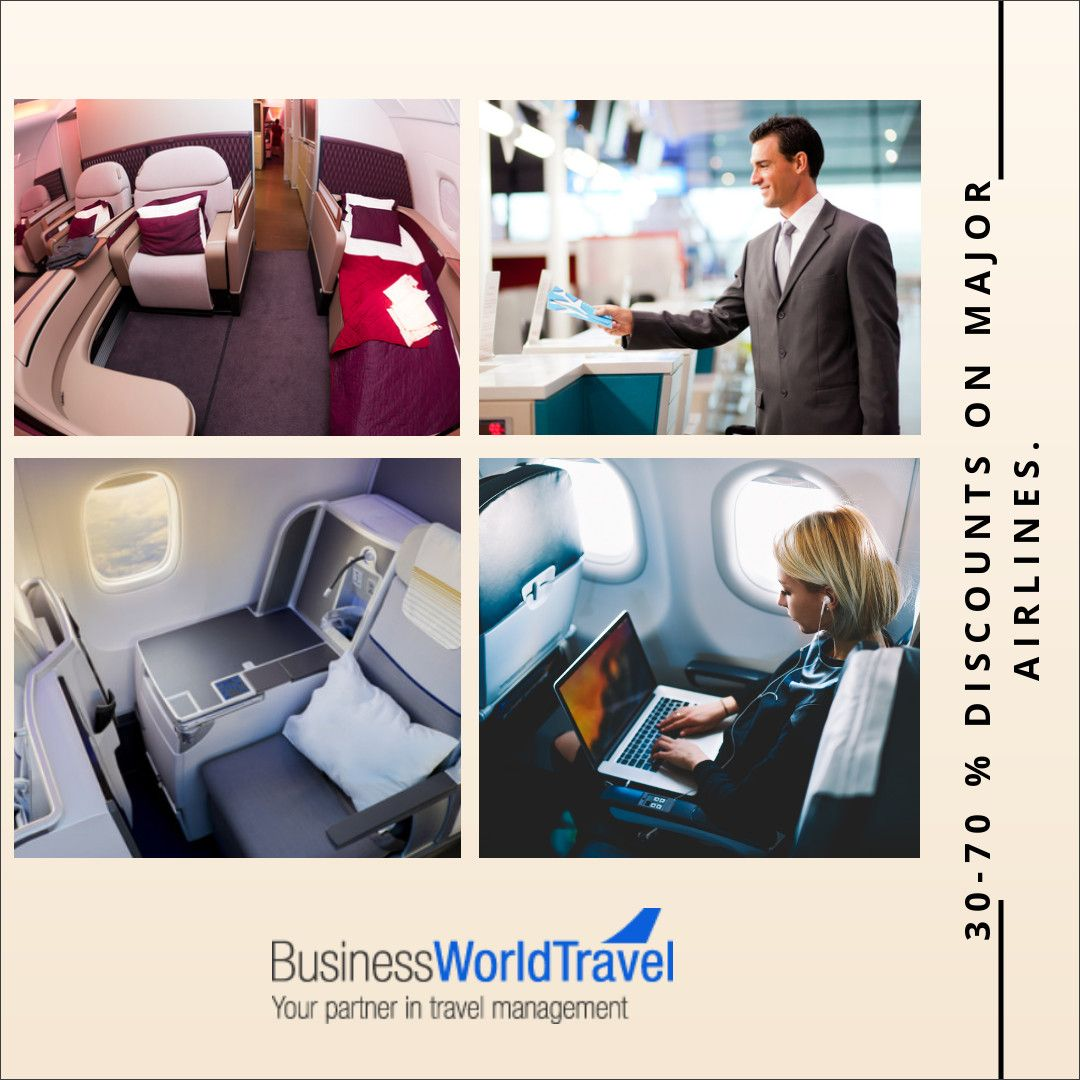 Flat beds seats, finest airport lounges across the world, and finest cuisines, experience all this without paying full fares. We offer around 30-70 % discounts on major airlines.  #DiscountFlights #CheapFlights #AirfareDeals #FlightDeals #DiscountAirfares CheapBusinessClassFlights #BusinessTravelAgency #BusinessWorldTravel