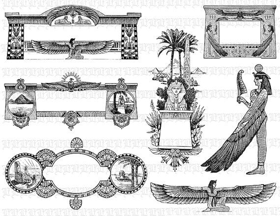 Art Deco Egyptian Frames Borders Decorative Illustrations
