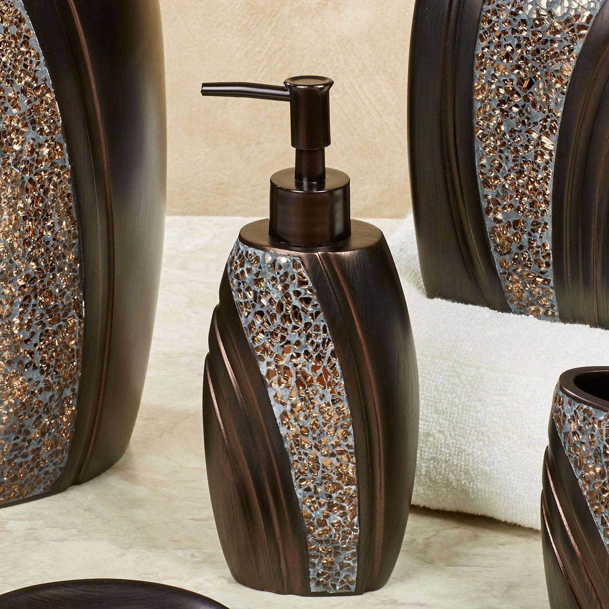 Grandeur Mosaic Bronze Bath Accessories Mosaic Bathroom Accessories Glass Mosaic Bathroom Soap Dispenser