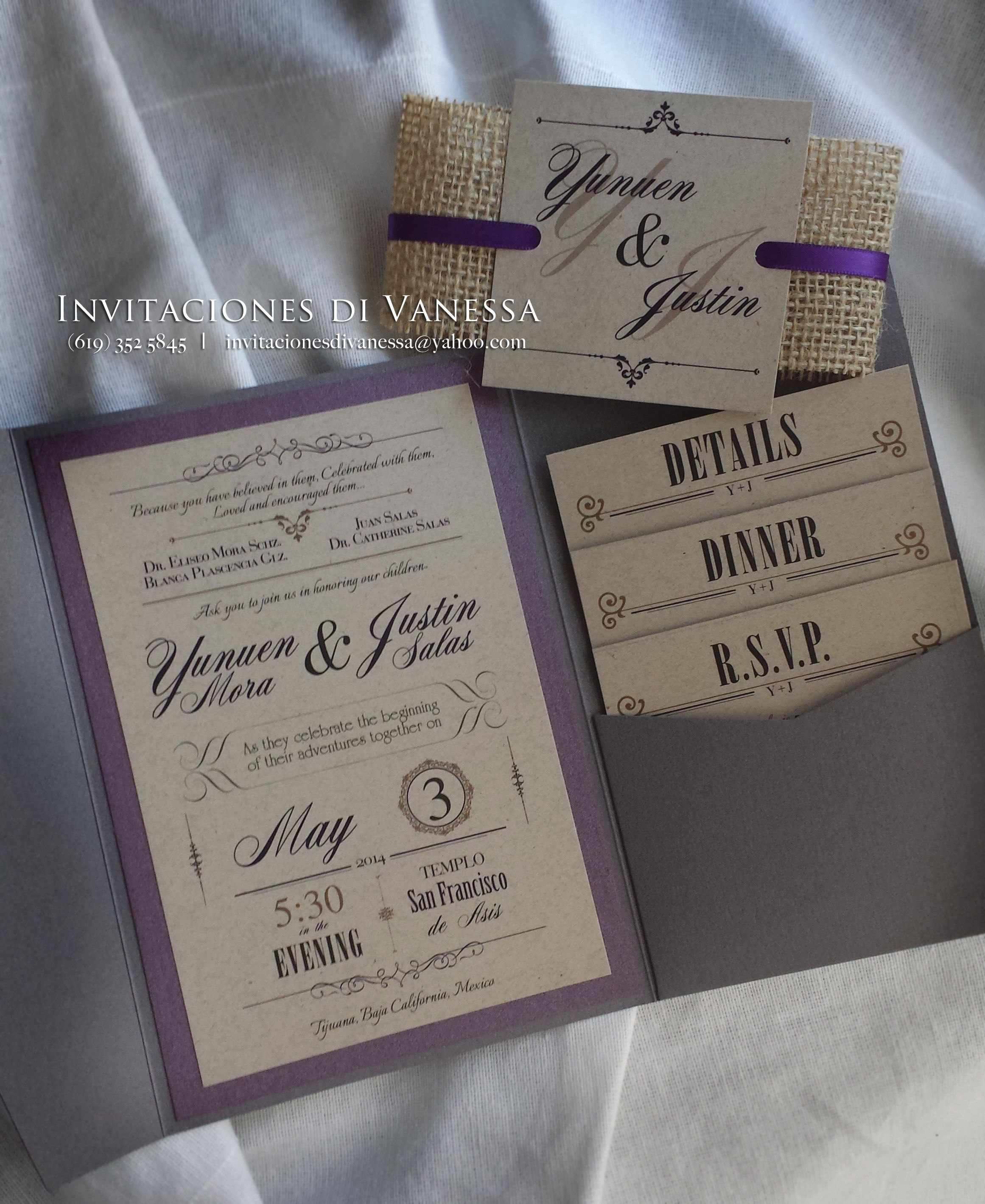 Rustic Wedding invitation pocket fold with recycled cardstock and ...