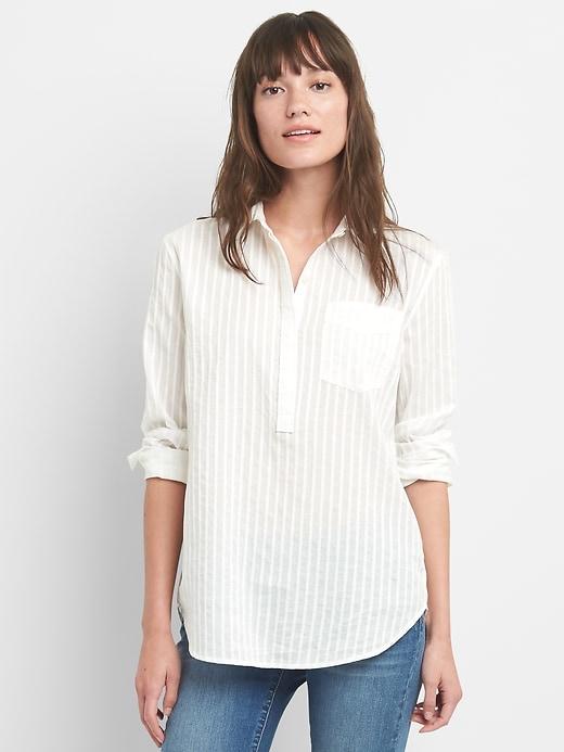 7673fb1c6975f Gap Woven Stripe Boyfriend Popover Shirt | Products | Women button ...