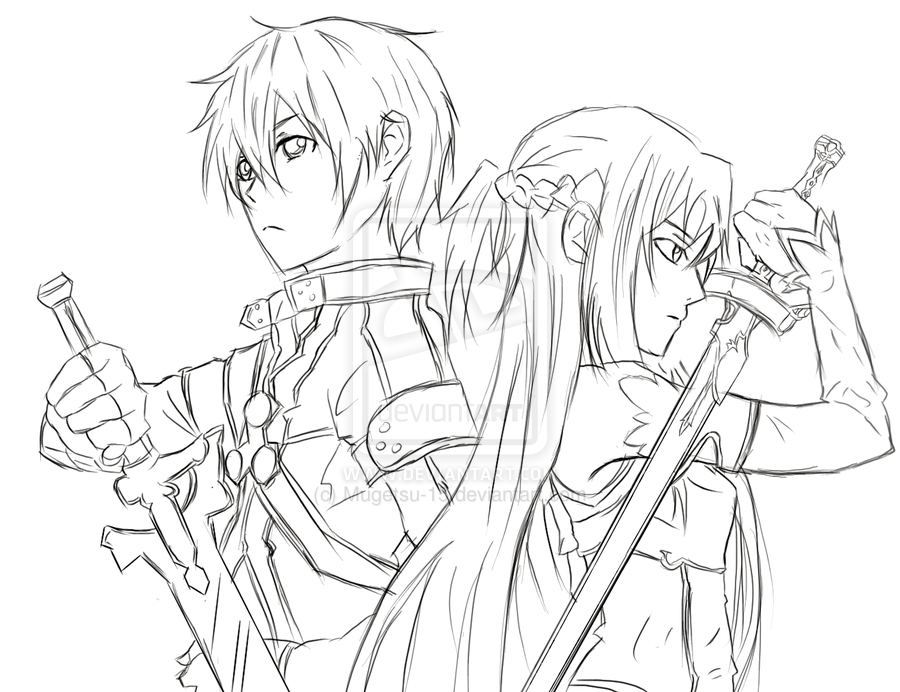 Sword Art Online Kirito and Asuna | Fill in doodle | Pinterest