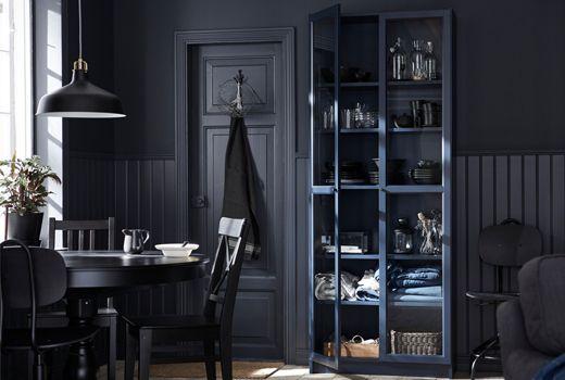 biblioth ques billy bleu fonc e avec portes vitr es ikea. Black Bedroom Furniture Sets. Home Design Ideas