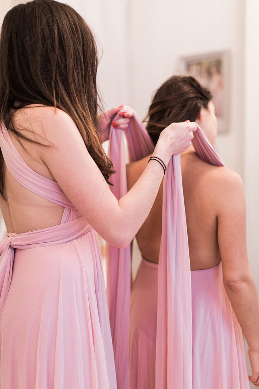 Petal Pink twobirds bridesmaid dresses | a real wedding featuring ...