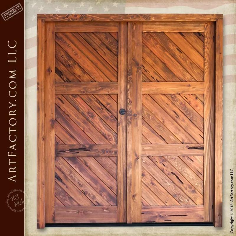 Diagonal Plank Double Doors 18th Century American Colonial Inspired Double Doors Custom Door Handle Custom Door