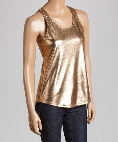 This Rose Gold Metallic Racer Back Tank is perfect! #zulilyfinds