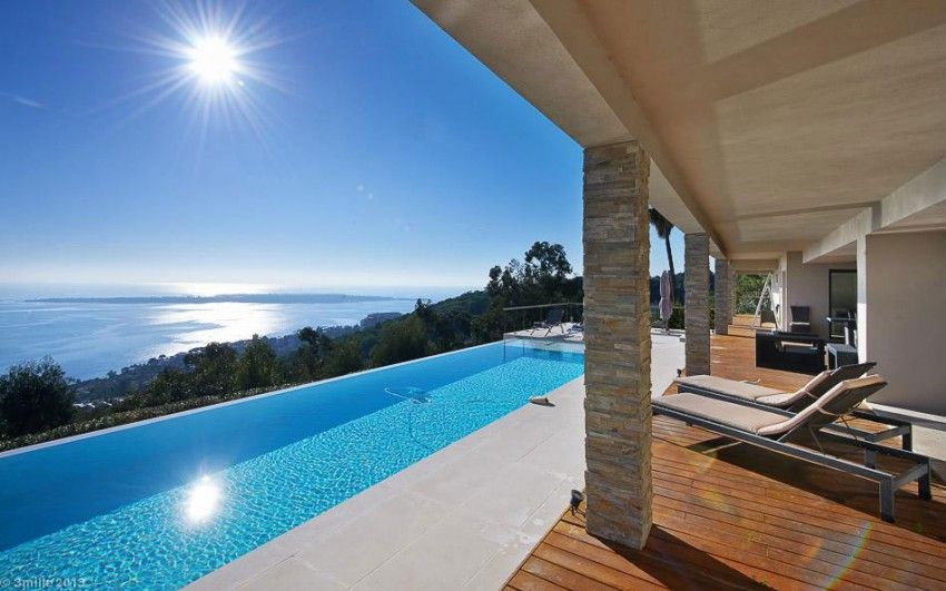 Sunloungers exterior project cannes estate with open air swimming pool outdoor pool designs views of the bay and the lerins islands massive modern 6