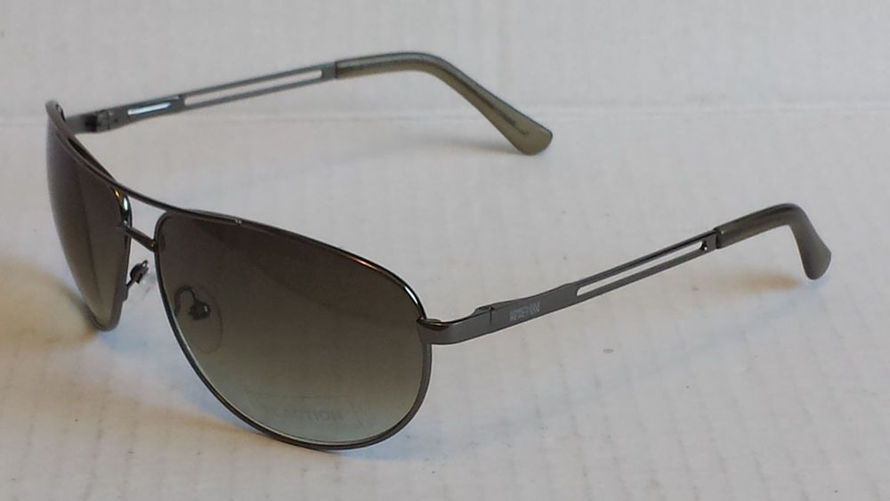 Kenneth Cole Reaction men aviator style sunglasses green lenses silver frame  #KennethColeReaction #Aviator