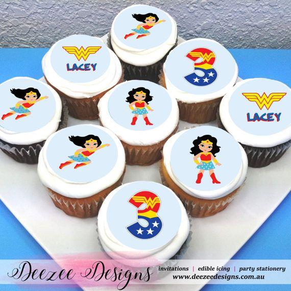 Wonderwoman Personalised Edible Icing Cupcake Toppers 2 Icing