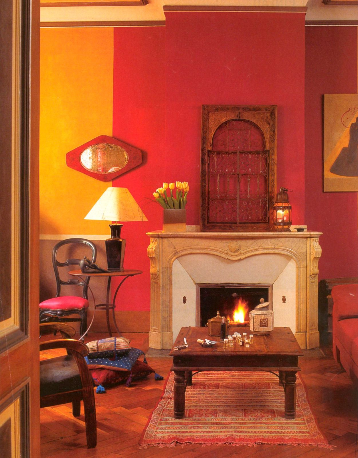 Eclectic style living room in a paris apartment with mango - Orange color paint for living room ...