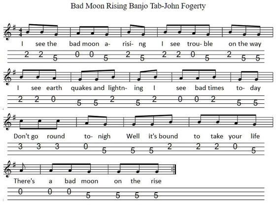 Bad Moon Rising Sheet Music And Banjo Mandolin Tab For Beginners Banjo Banjo Music Mandolin