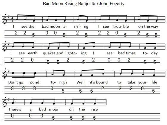 Bad Moon Rising Sheet Music And Banjo Mandolin Tab For Beginners Banjo Banjo Music Mandolin