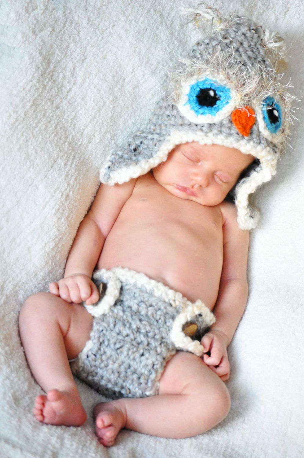 Custom made to order owl hat and diaper cover set photoprop. $55.00, via Etsy.
