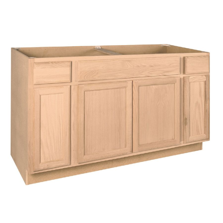 Project Source 60 In W X 35 In H X 23 75 In D Natural Unfinished Sink Base Stock Cabinet Lowes Com In 2021 Unfinished Kitchen Cabinets Kitchen Base Cabinets Stock Kitchen Cabinets
