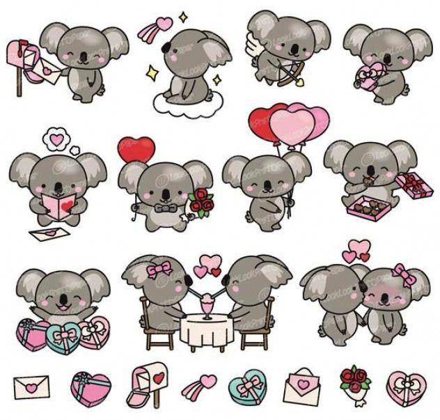 Vector Clipart - Kawaii Valentines Day Koalas - Valentines Day Koala Clipart - High QualityPremium