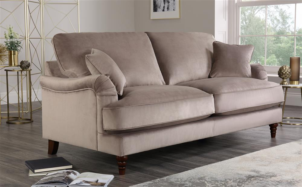 Charleston Mink Velvet 3 Seater Sofa Furniture Choice In 2020 Velvet Sofa Living Room Seater Sofa Sofa Furniture