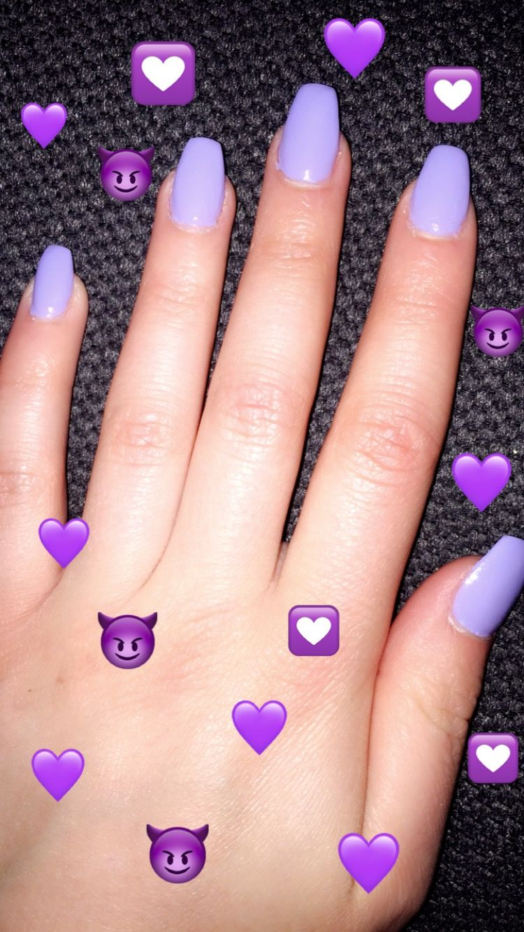 Lilac And Coffin Shaped Acrylic Nails Lilac Nails Acrylic Nails Coffin Short Coffin Shape Nails