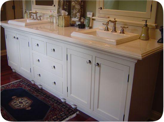 Bathroom Vanity Feet bath- bathroom vanity white enamel w/ bun feet and inset, shaker