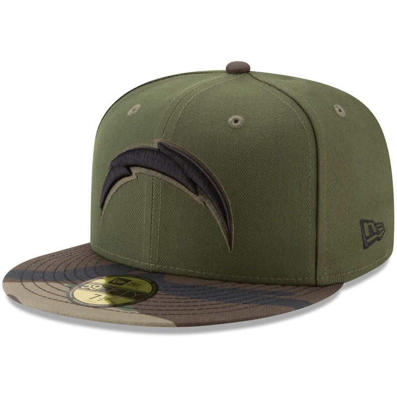 official photos 21ca0 b86aa Los Angeles Chargers New Era Woodland 59FIFTY Fitted Hat - Green Camo