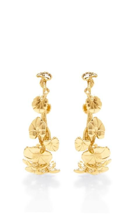 Nympheas 18K Gold-Plated Hoop Earrings by Aurélie Bidermann Now Available on Moda Operandi