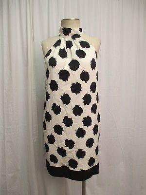 Diane Von Furstenberg DVF Black Rose Dot on White Silk Blend Sheath Dress Size 6