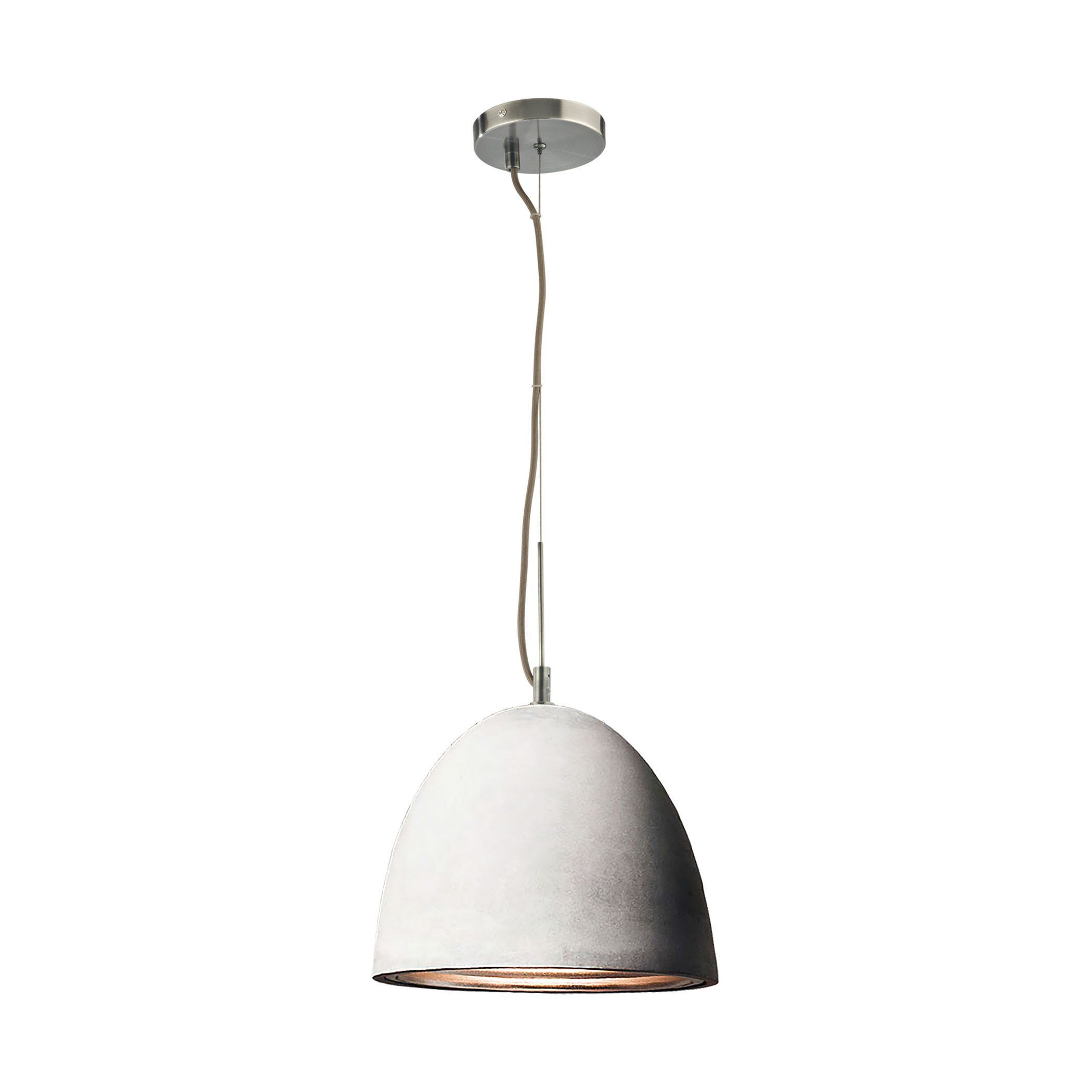 castle 1 light pendant in poured concrete with chrome reflector