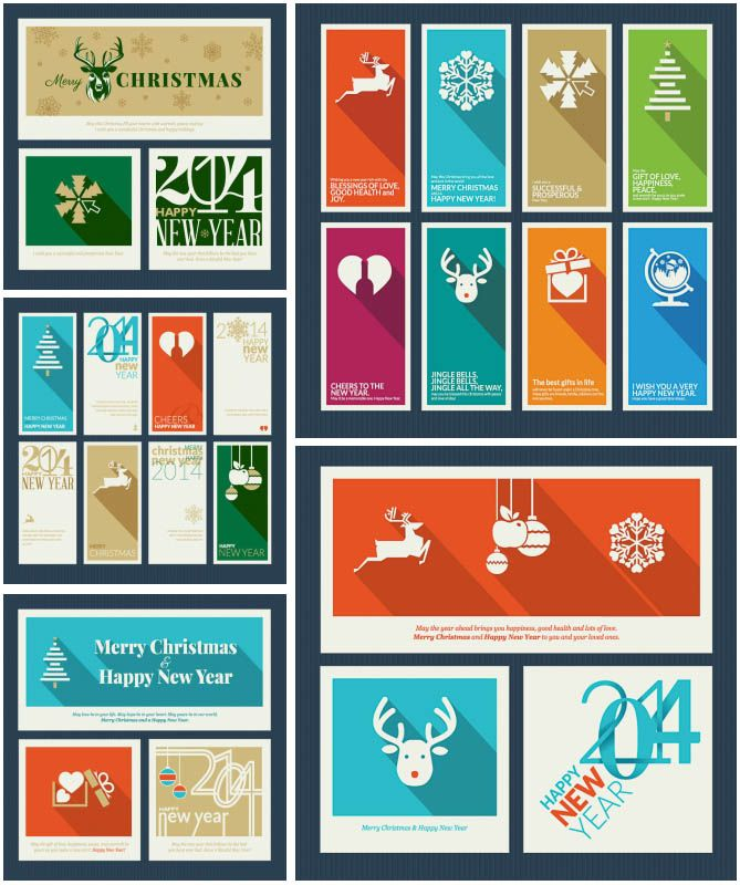 Flat design Christmas vector set - cards, brochures, banners and backgrounds