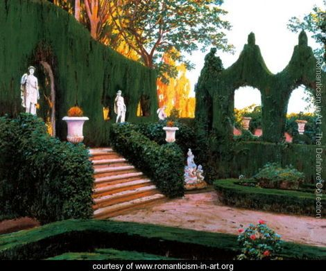 Neoclassical Garden, 1890s - Santiago Rusinol i Prats - www.romanticism-in-art.org