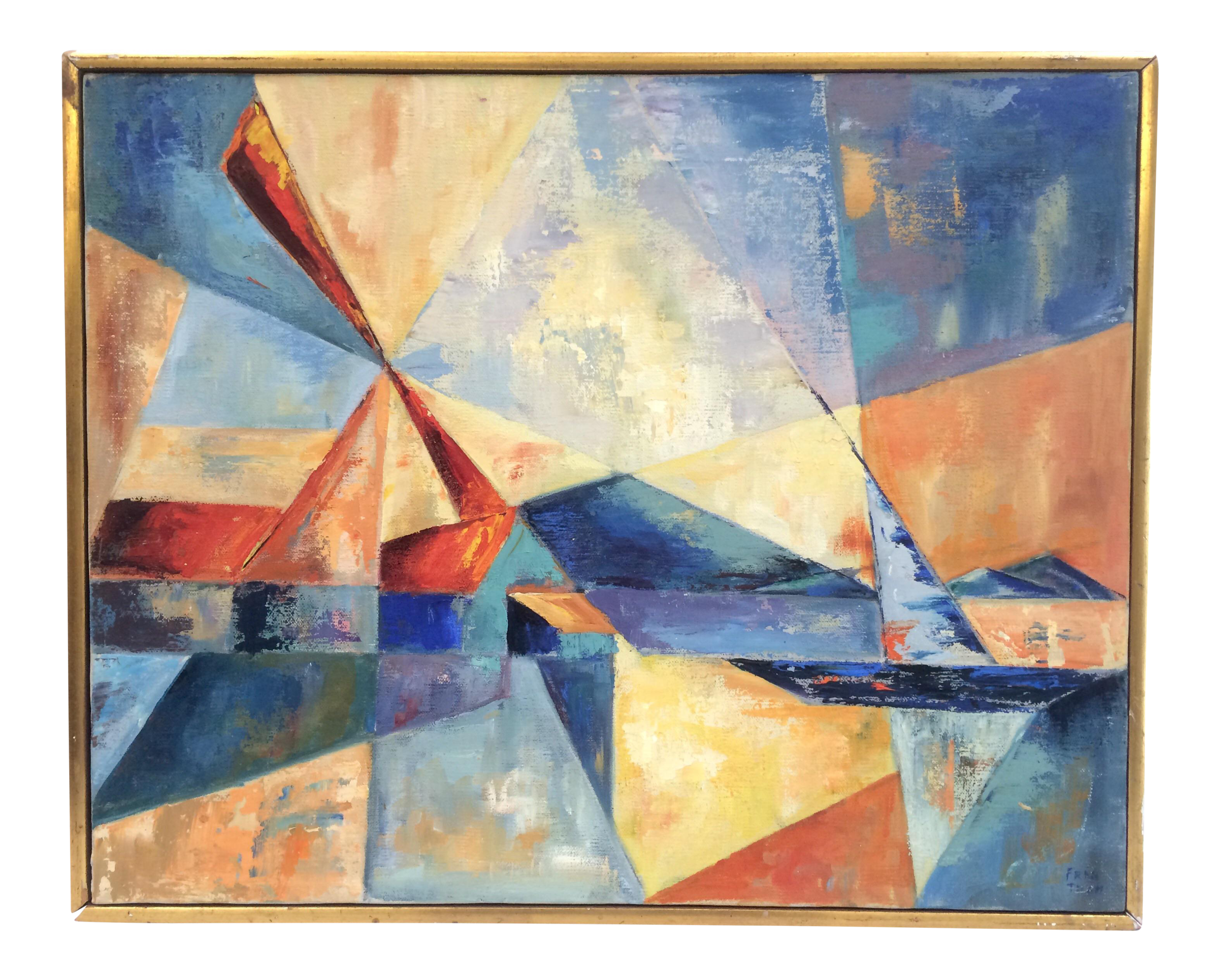 Vintage Brightly Colored Geometric Abstract Painting On Chairish Com Painting Abstract Painting Artwork