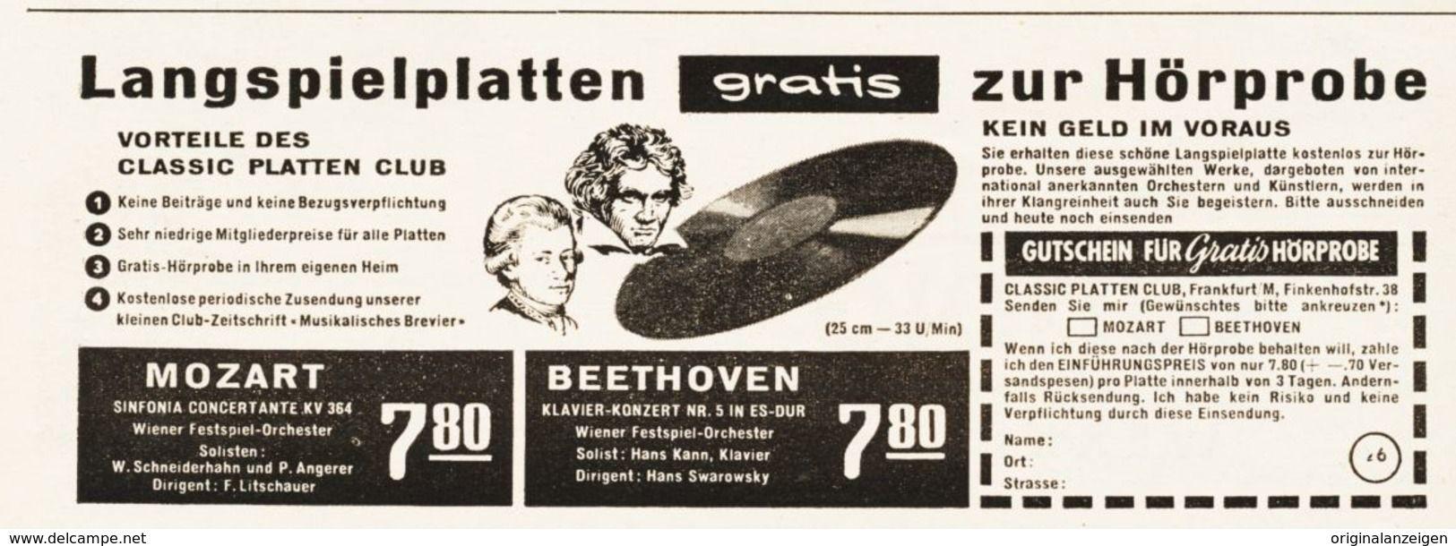 Original Werbung Anzeige 1956 Langspielplatten Motiv Beethoven Classic Platten Club Frankfurt A M Ca 125 X 45 Mm Langspielplatte Werbung Frankfurt