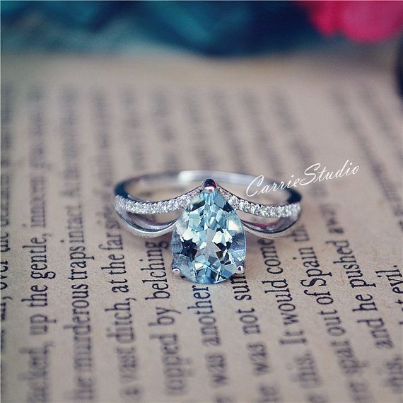 Gorgeous Natural Aquamarine Ring 7*9mm Aquamarine Engagement Ring/ Wedding Ring Sterling Silver Ring Anniversary Ring Promise Ring #aquamarineengagementring