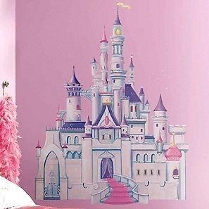 Chateau Princesse Stickers Mural Geant Muraux Enfant 1m Chateau