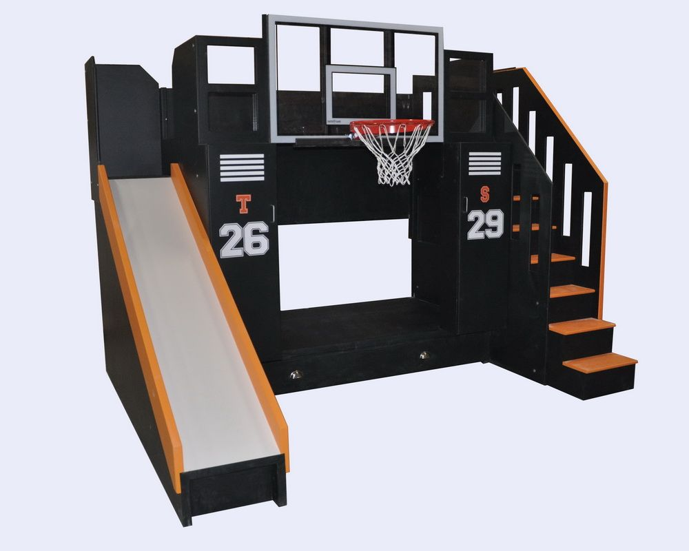 Loft bed with slide and storage  Basketball Bunk  The Ultimate  Bunk bed Storage drawers and Lockers