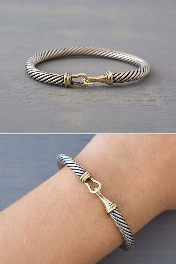 detail hook bangles cable product stainless twisted steel fish bangle bracelet latest wire