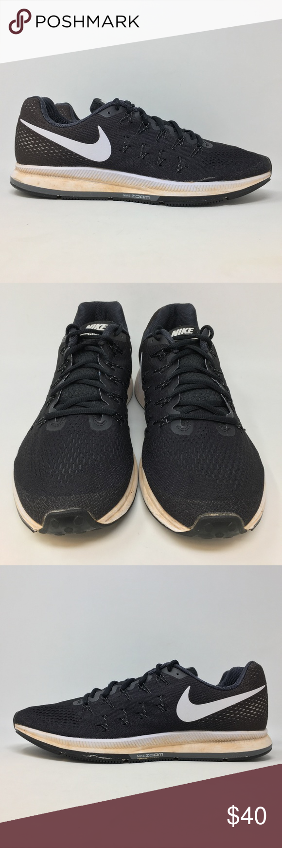 huge selection of c0514 ed997 Nike Air Zoom Pegasus 33 Mens 14 Running Shoe L10 Nike Air Zoom Pegasus 33  Mens Size 14 Black White Running Shoes L10 Shoes are in u…   My Posh Picks