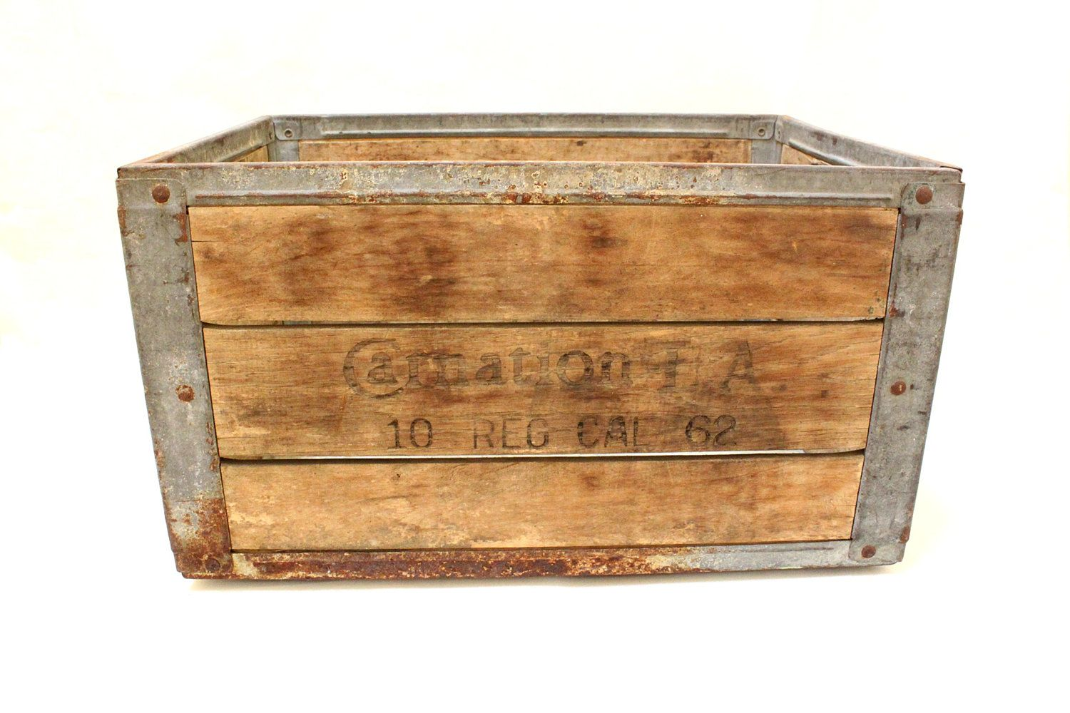 Vintage Carnation Milk Wood Crate Box With Metal Straps Wood Crates Milk Crates Crates