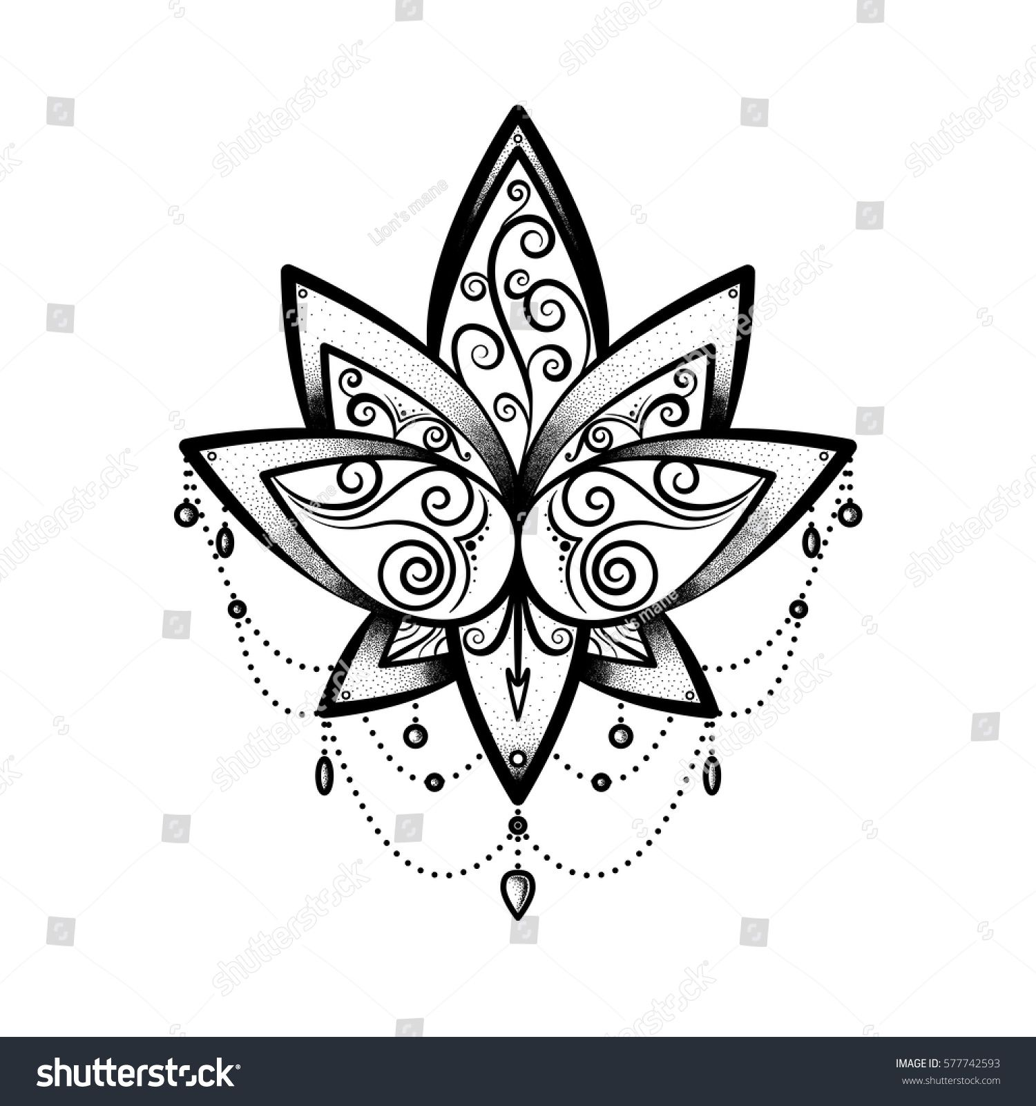 Vector Ornamental Lotus Flower Ethnic Art Black Hand Drawn
