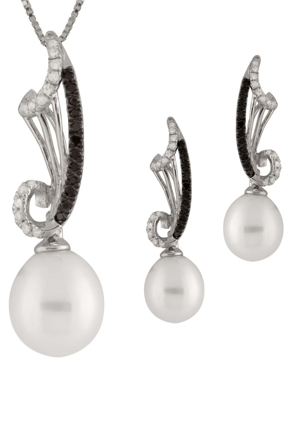 6148330c Priceless Pearls - 9-10mm Freshwater Pearl & Zirconia Set In White ...