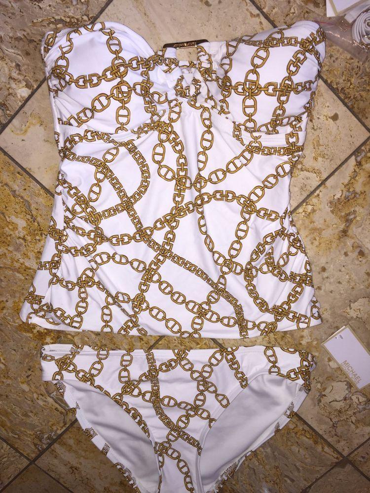 dc732e8b39bb3 NWT $134 Michael Kors White Gold Chain Bandeau Tankini Swimsuit 2p Set  Womens XS #MichaelKors #Tankini