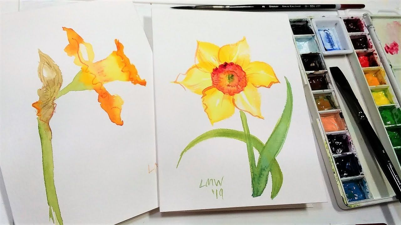 How To Paint Daffodils 2 Ways Easy Watercolor Tutorial Youtube