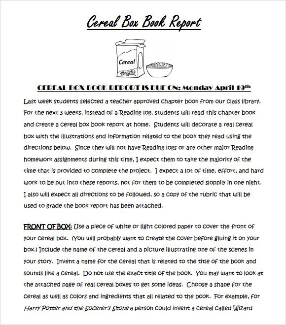 Free Cereal Box Book Report Template  Rd Grade