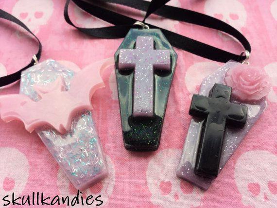 Pastel goth creepy cute resin coffin necklaces by skullkandies