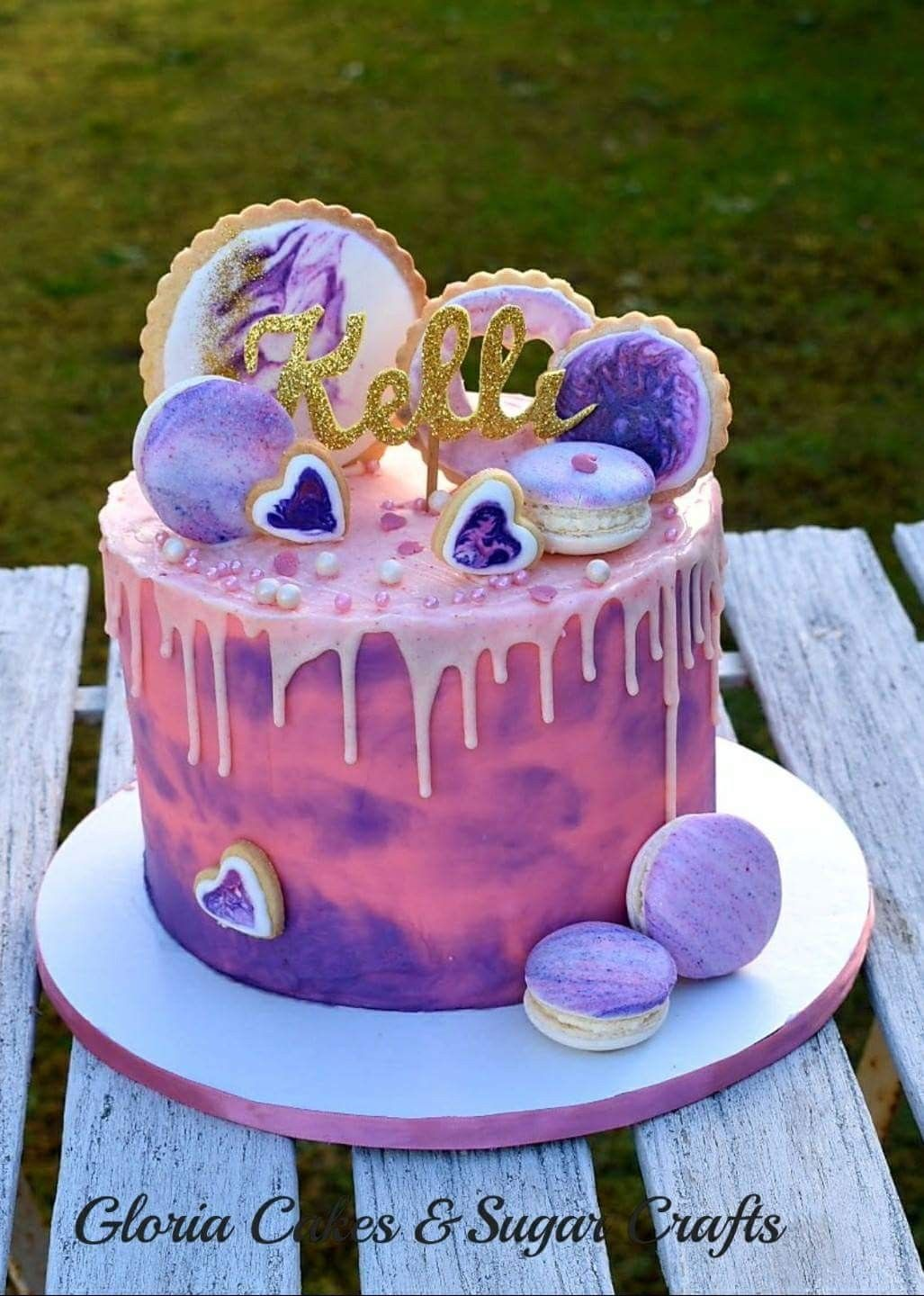 Pink Purple Marble Drip Cake Marblecookies With Images