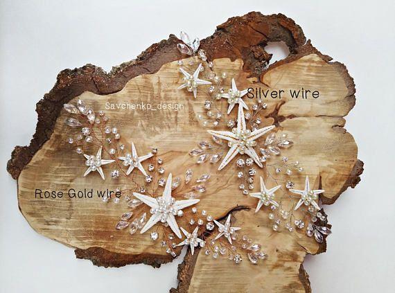 Starfish hair clip Beach Wedding Headpiece beach starfish halo