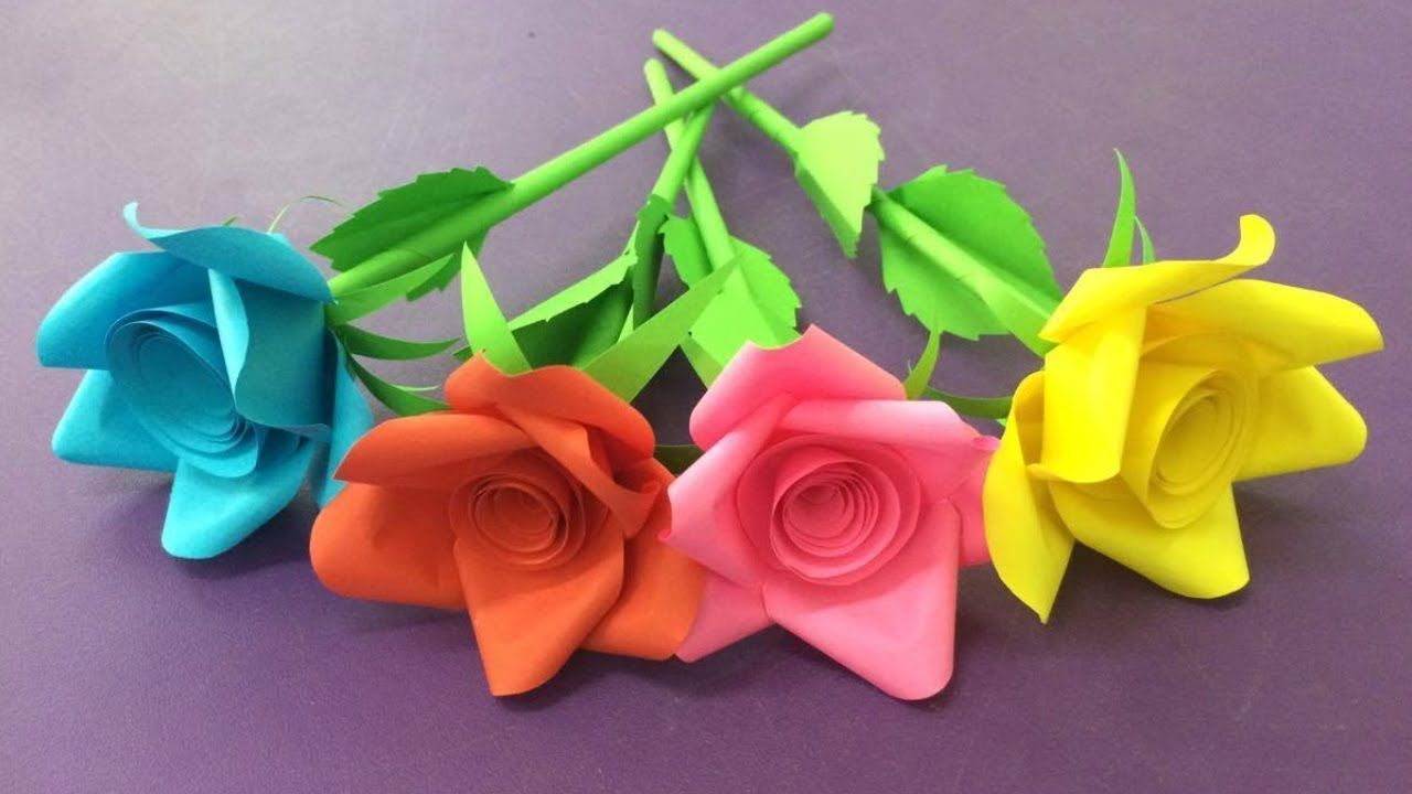 How To Make Rose Flower With Paper Making Paper Flowers Step By